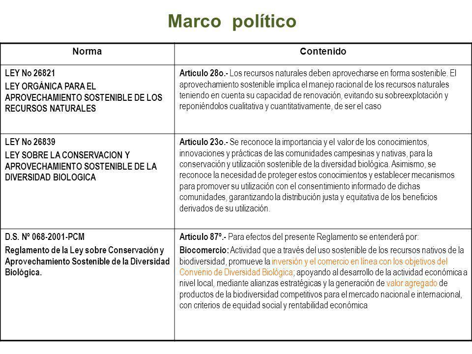 Marco político Norma Contenido LEY No 26821