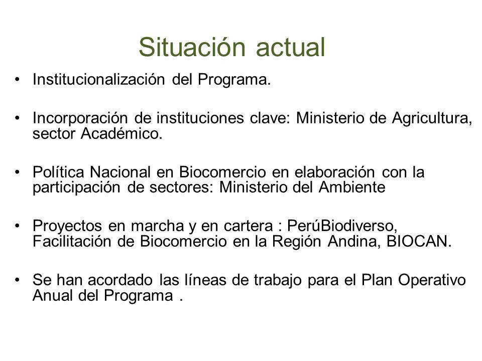 Situación actual Institucionalización del Programa.