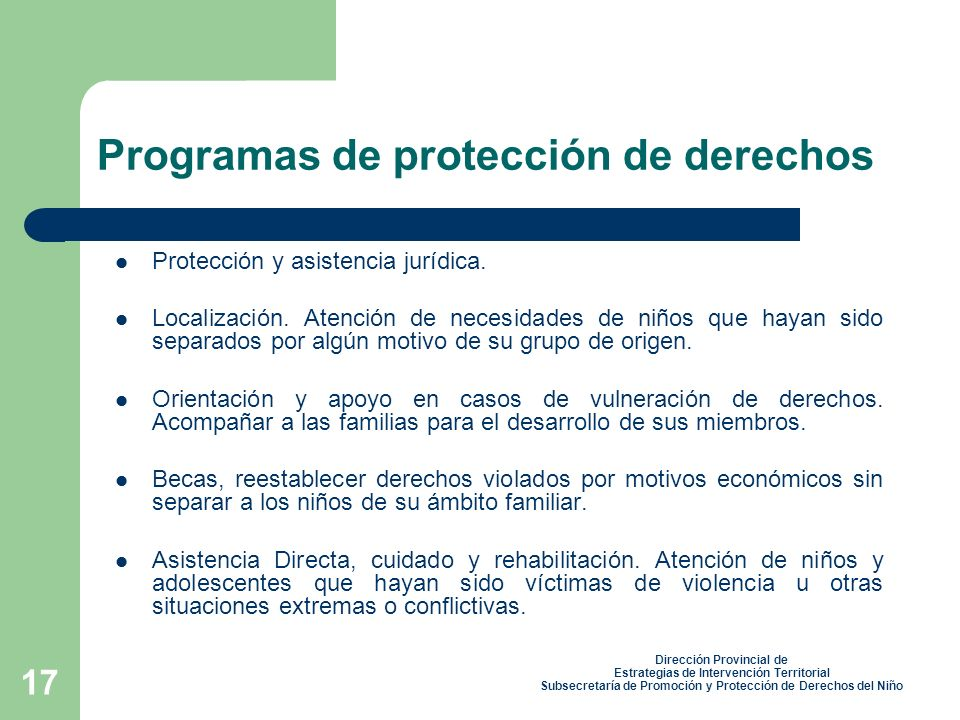 Programas de protección de derechos
