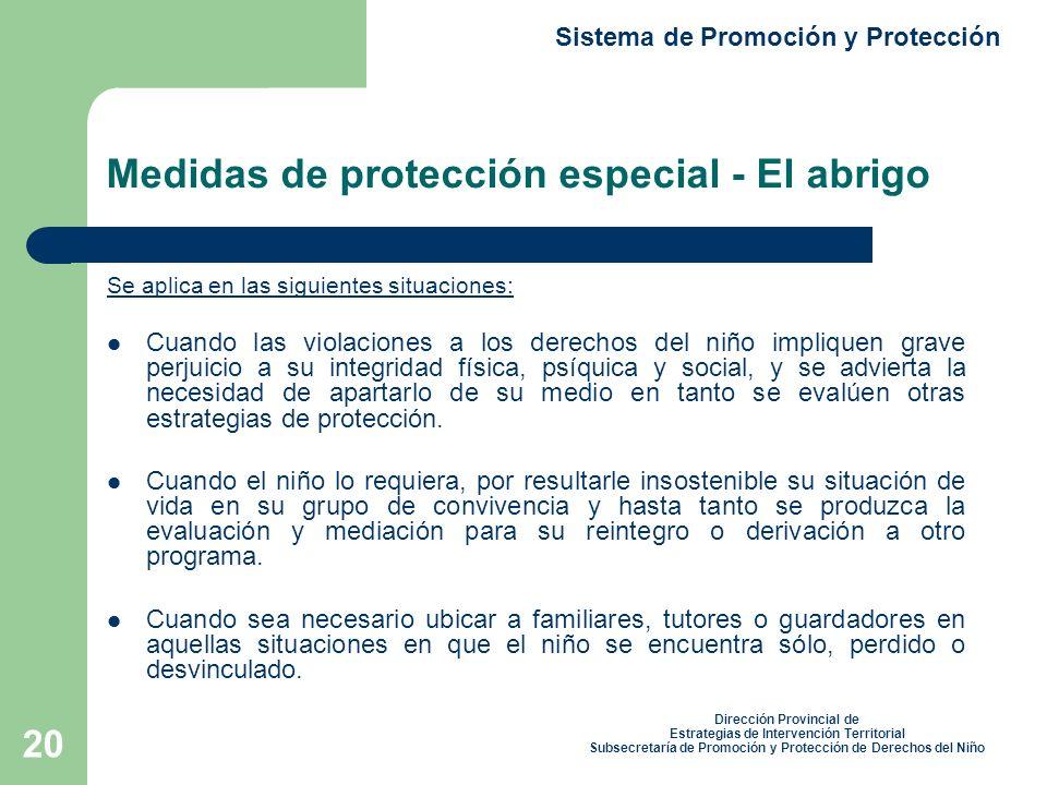 Medidas de protección especial - El abrigo