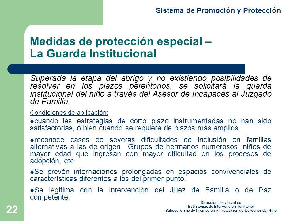 Medidas de protección especial – La Guarda Institucional