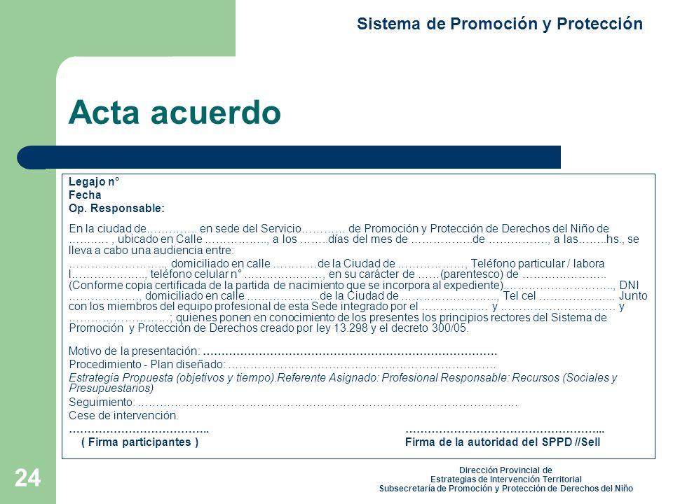 Acta acuerdo Sistema de Promoción y Protección Legajo n° Fecha