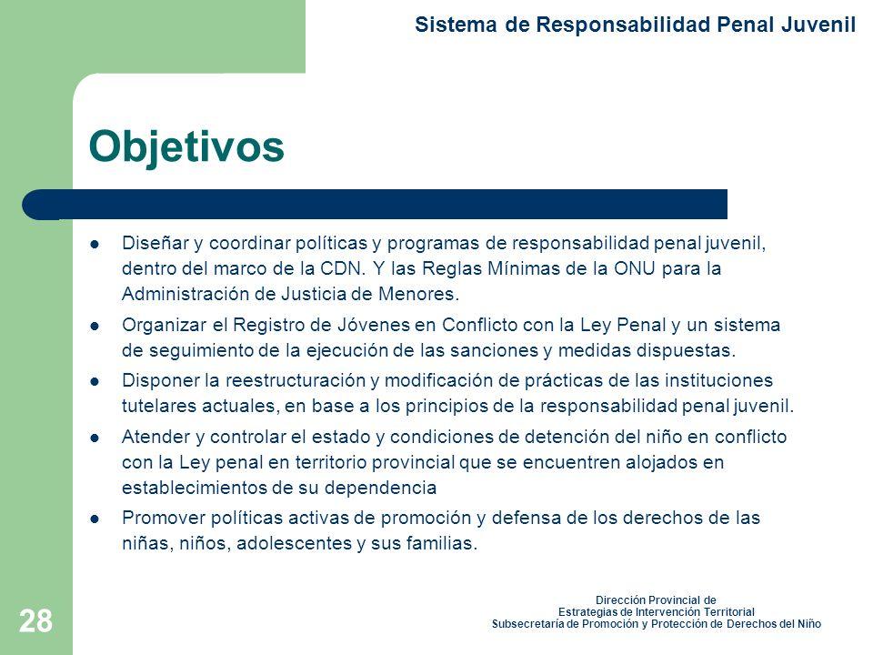Objetivos Sistema de Responsabilidad Penal Juvenil