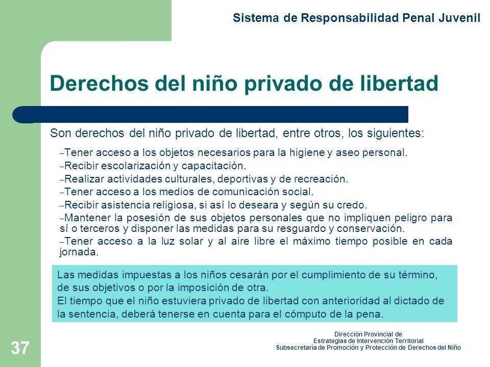 Derechos del niño privado de libertad