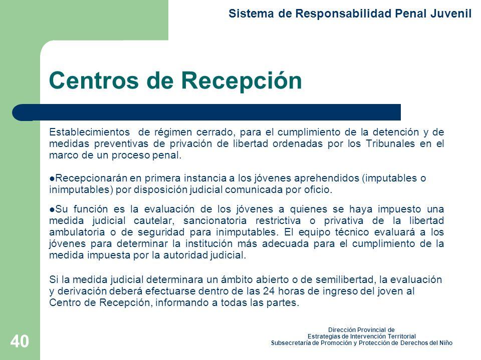 Centros de Recepción Sistema de Responsabilidad Penal Juvenil