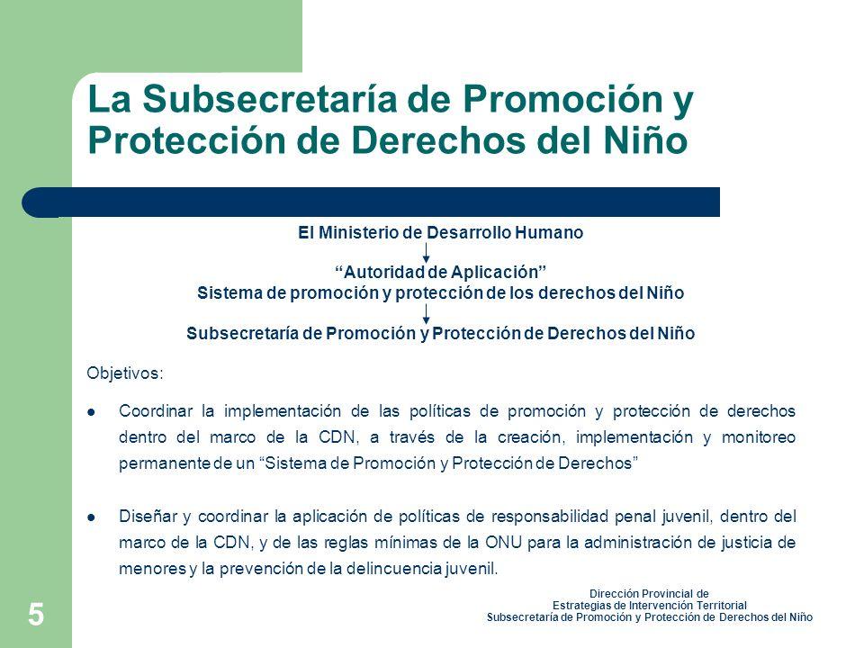 La Subsecretaría de Promoción y Protección de Derechos del Niño