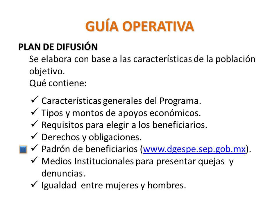 GUÍA OPERATIVA PLAN DE DIFUSIÓN