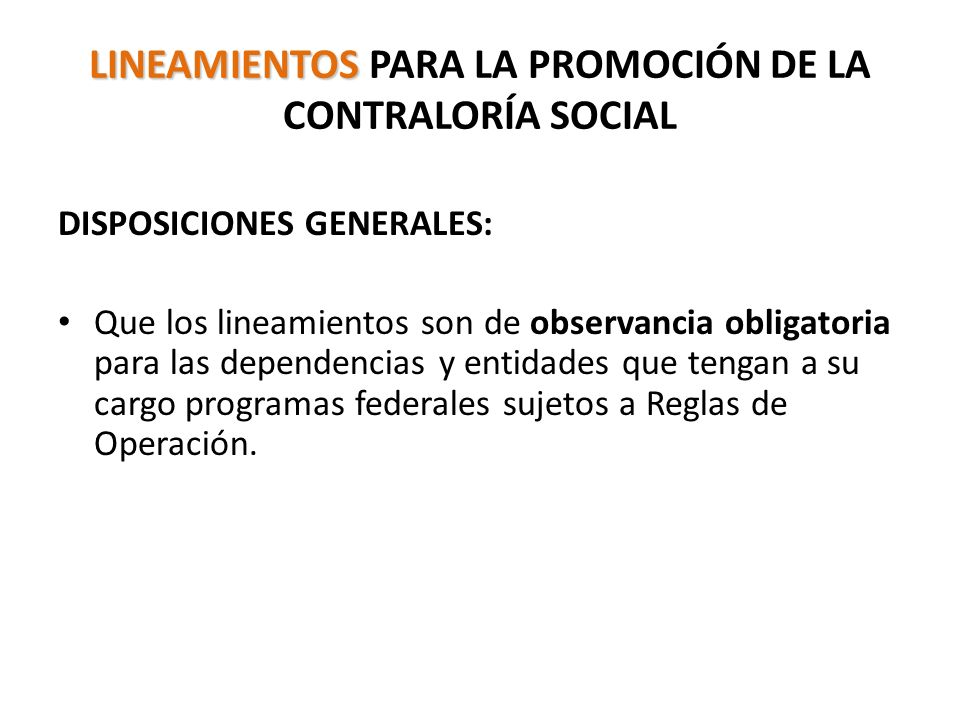 LINEAMIENTOS PARA LA PROMOCIÓN DE LA CONTRALORÍA SOCIAL