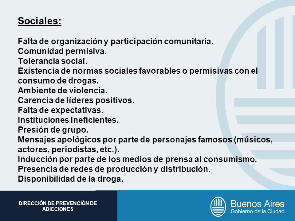 Sociales: Falta de organización y participación comunitaria