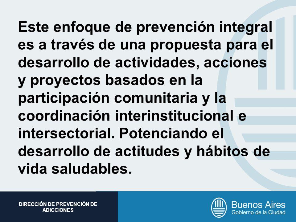 Este enfoque de prevención integral es a través de una propuesta para el desarrollo de actividades, acciones y proyectos basados en la participación comunitaria y la coordinación interinstitucional e intersectorial.