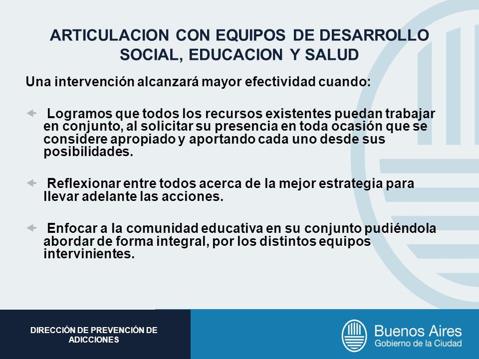 ARTICULACION CON EQUIPOS DE DESARROLLO SOCIAL, EDUCACION Y SALUD
