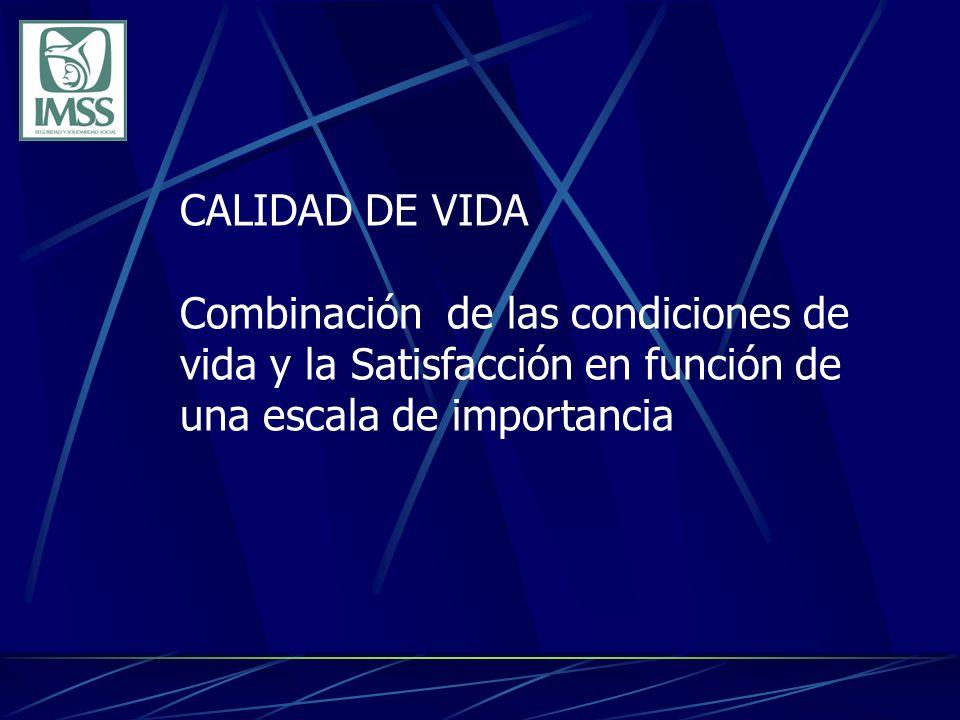 CALIDAD DE VIDA Combinación de las condiciones de vida y la Satisfacción en función de una escala de importancia.