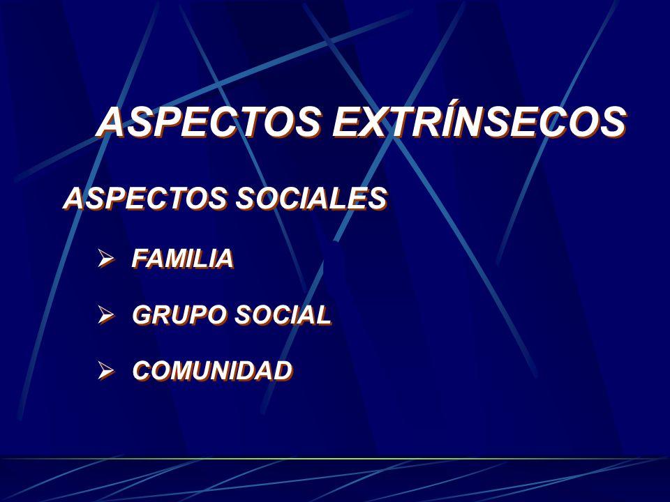 ASPECTOS EXTRÍNSECOS ASPECTOS SOCIALES FAMILIA GRUPO SOCIAL COMUNIDAD