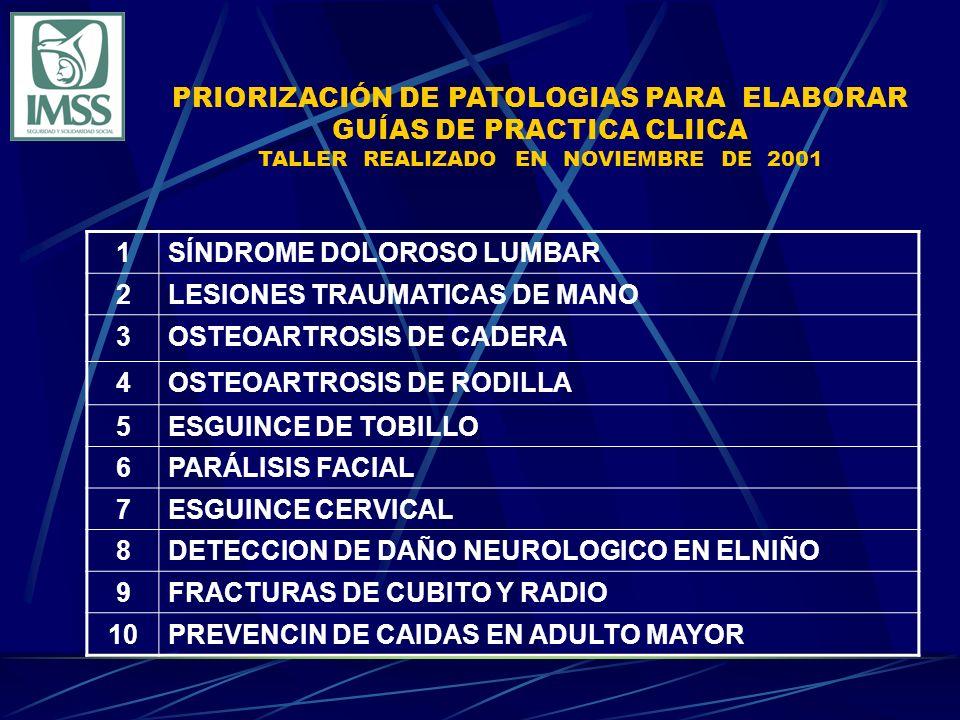 PRIORIZACIÓN DE PATOLOGIAS PARA ELABORAR GUÍAS DE PRACTICA CLIICA TALLER REALIZADO EN NOVIEMBRE DE 2001