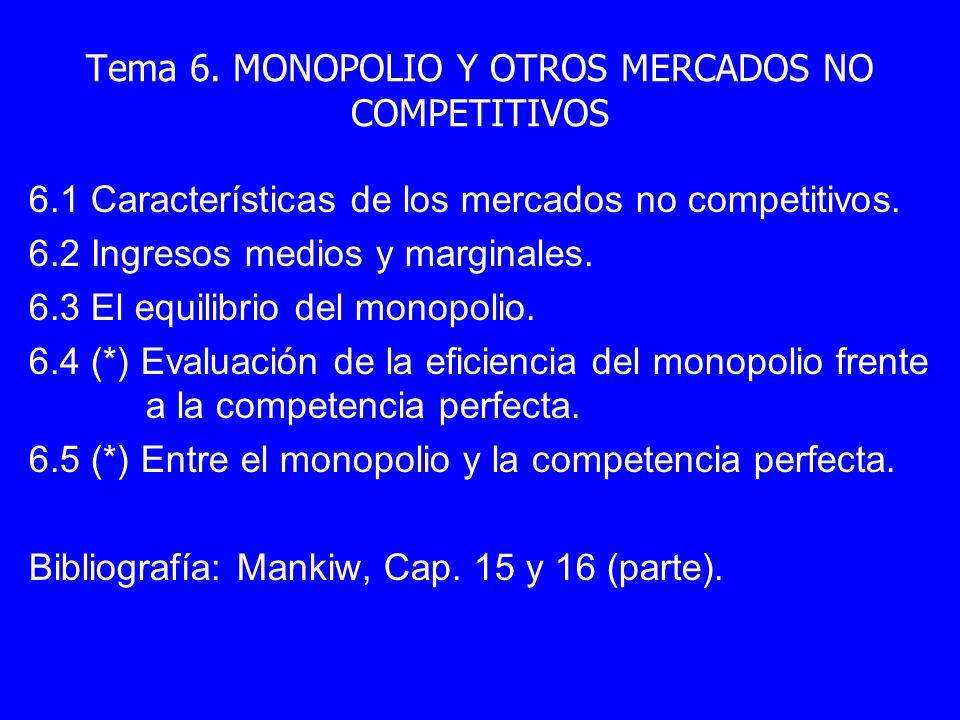 Tema 6. MONOPOLIO Y OTROS MERCADOS NO COMPETITIVOS