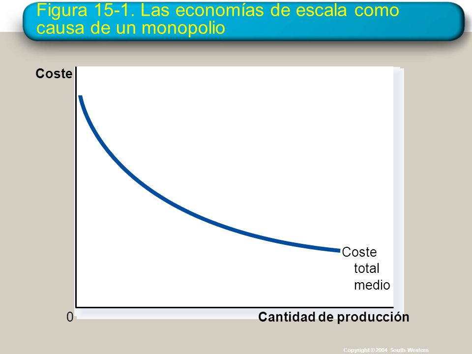Figura 15-1. Las economías de escala como causa de un monopolio
