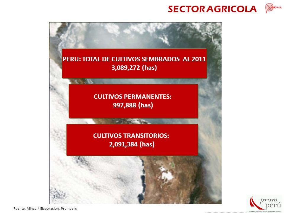 SECTOR AGRICOLA PERU: TOTAL DE CULTIVOS SEMBRADOS AL 2011