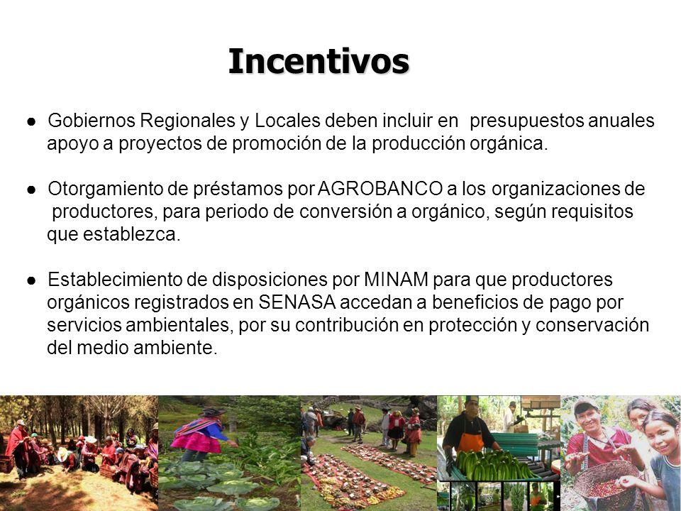 Incentivos Gobiernos Regionales y Locales deben incluir en presupuestos anuales. apoyo a proyectos de promoción de la producción orgánica.