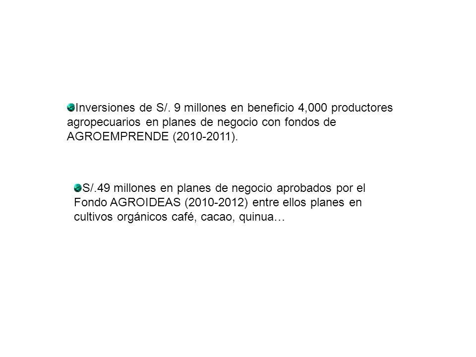 Inversiones de S/. 9 millones en beneficio 4,000 productores agropecuarios en planes de negocio con fondos de AGROEMPRENDE (2010-2011).