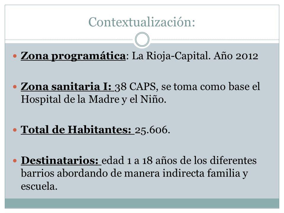 Contextualización: Zona programática: La Rioja-Capital. Año 2012