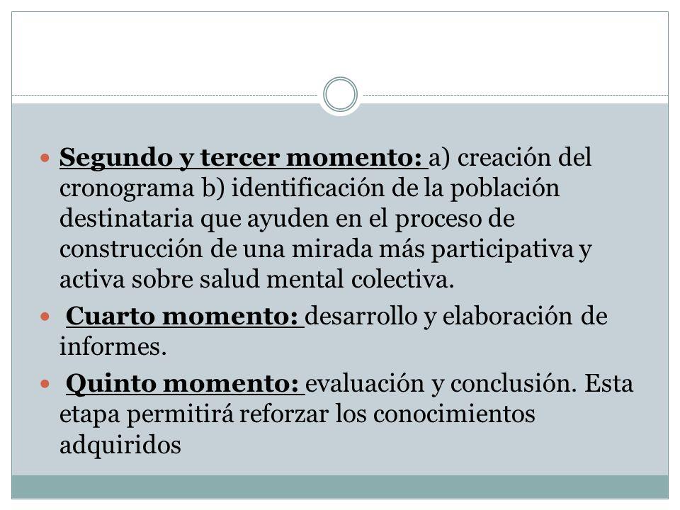 Segundo y tercer momento: a) creación del cronograma b) identificación de la población destinataria que ayuden en el proceso de construcción de una mirada más participativa y activa sobre salud mental colectiva.