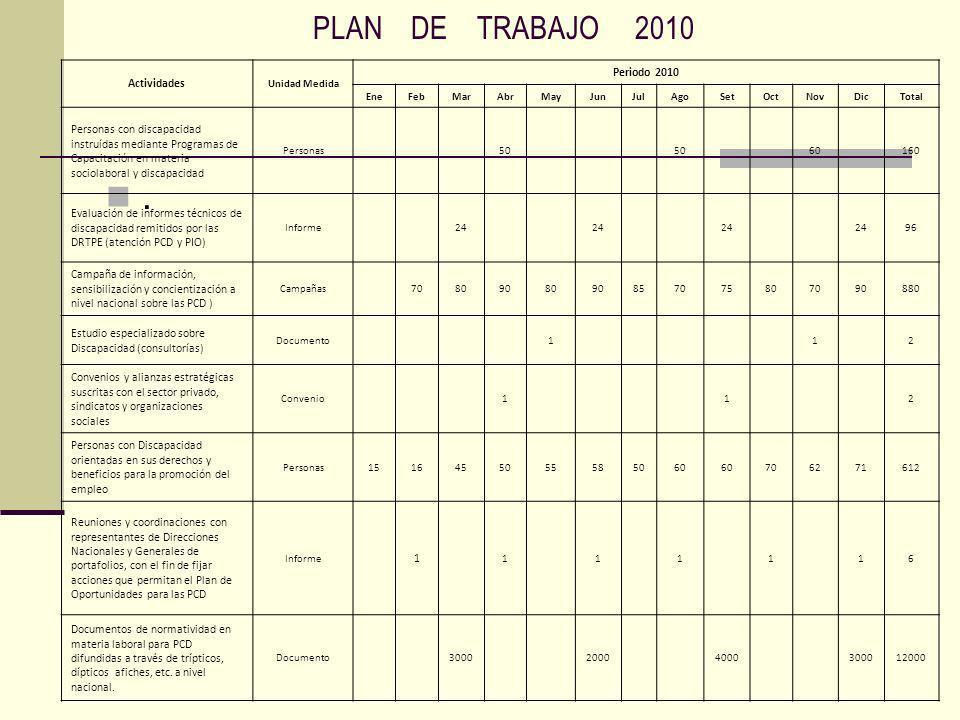 . PLAN DE TRABAJO 2010 Periodo 2010 Actividades