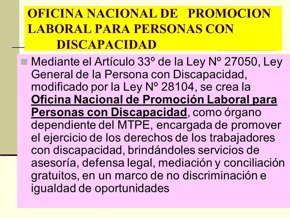 OFICINA NACIONAL DE PROMOCION LABORAL PARA PERSONAS CON DISCAPACIDAD