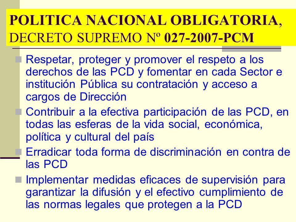 POLITICA NACIONAL OBLIGATORIA, DECRETO SUPREMO Nº 027-2007-PCM
