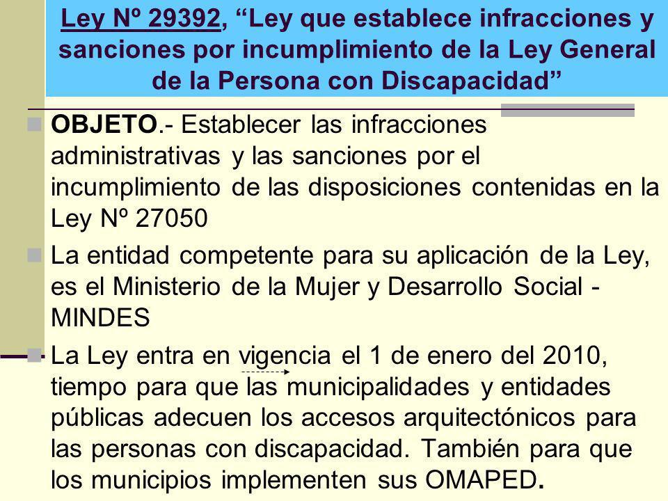 Ley Nº 29392, Ley que establece infracciones y sanciones por incumplimiento de la Ley General de la Persona con Discapacidad