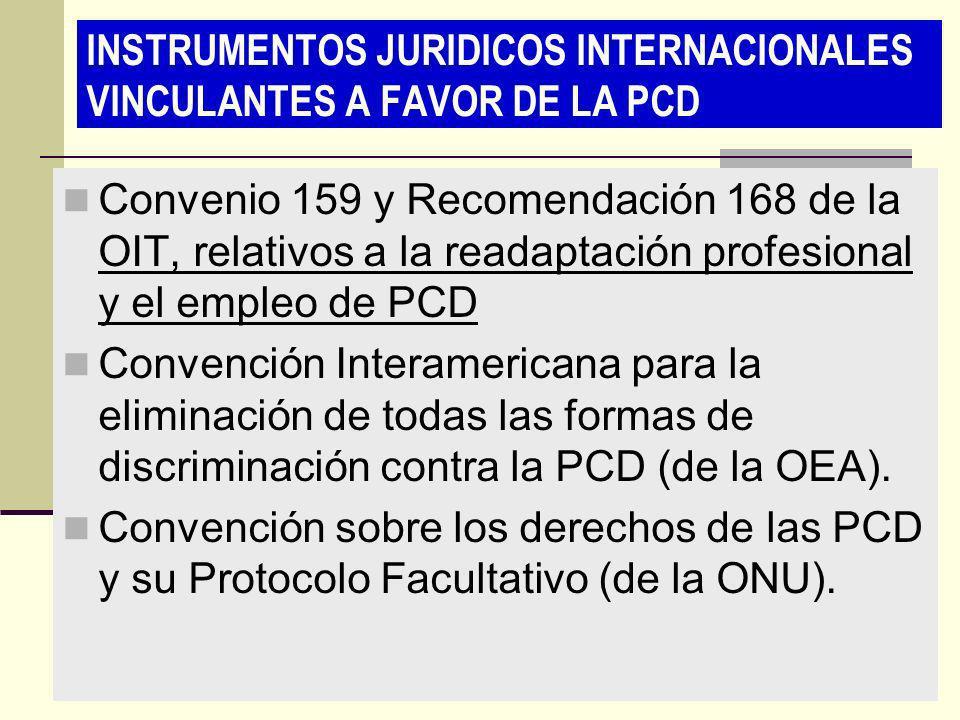 INSTRUMENTOS JURIDICOS INTERNACIONALES VINCULANTES A FAVOR DE LA PCD