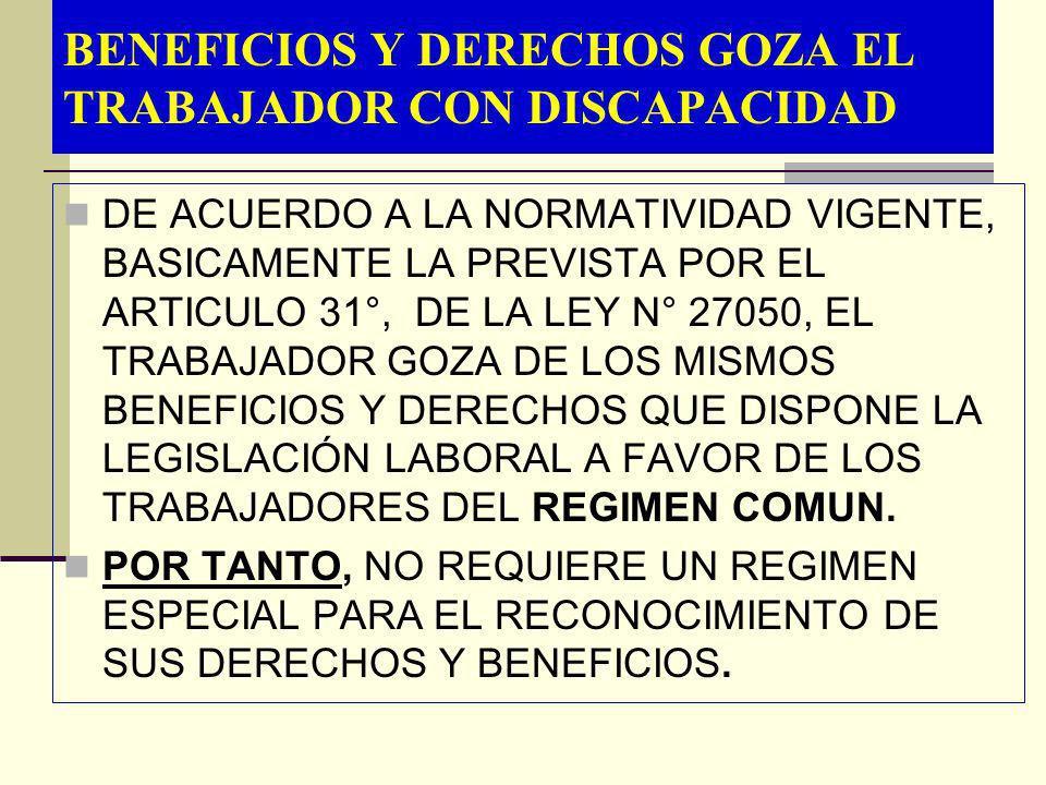 BENEFICIOS Y DERECHOS GOZA EL TRABAJADOR CON DISCAPACIDAD