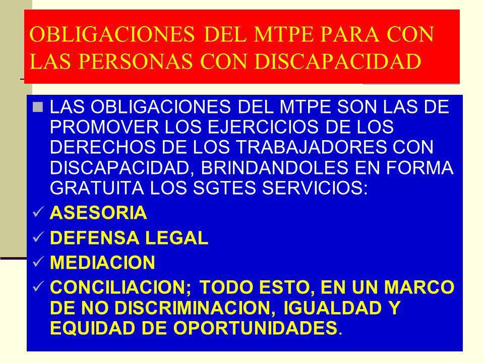 OBLIGACIONES DEL MTPE PARA CON LAS PERSONAS CON DISCAPACIDAD