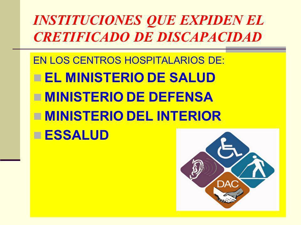 INSTITUCIONES QUE EXPIDEN EL CRETIFICADO DE DISCAPACIDAD