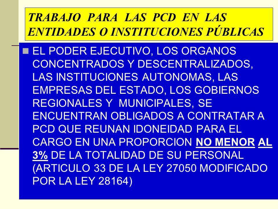 TRABAJO PARA LAS PCD EN LAS ENTIDADES O INSTITUCIONES PÚBLICAS