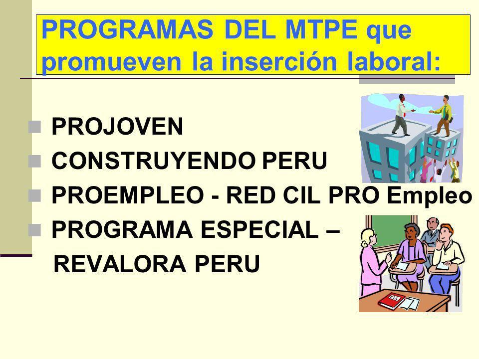 PROGRAMAS DEL MTPE que promueven la inserción laboral: