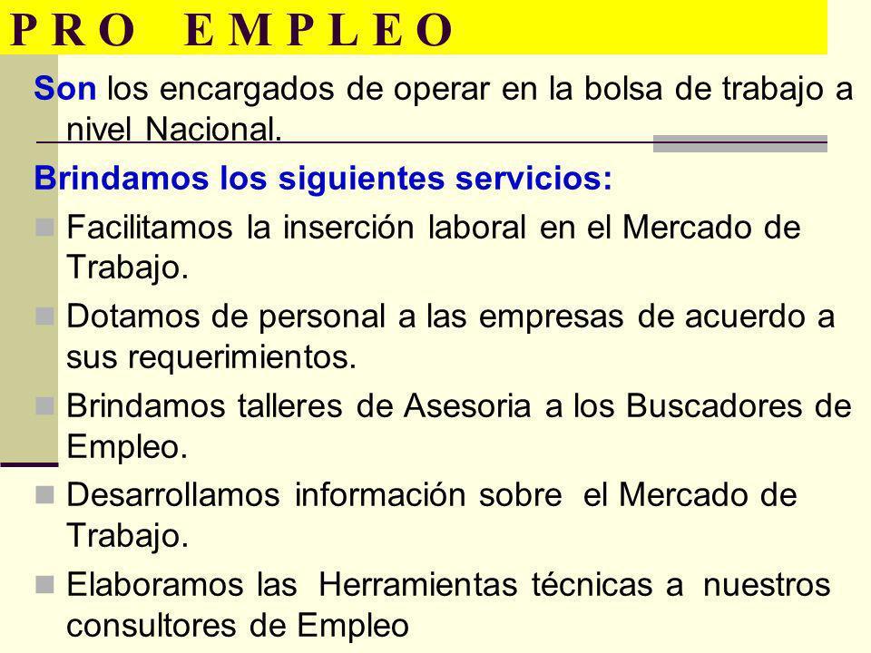 P R O E M P L E O Son los encargados de operar en la bolsa de trabajo a nivel Nacional. Brindamos los siguientes servicios: