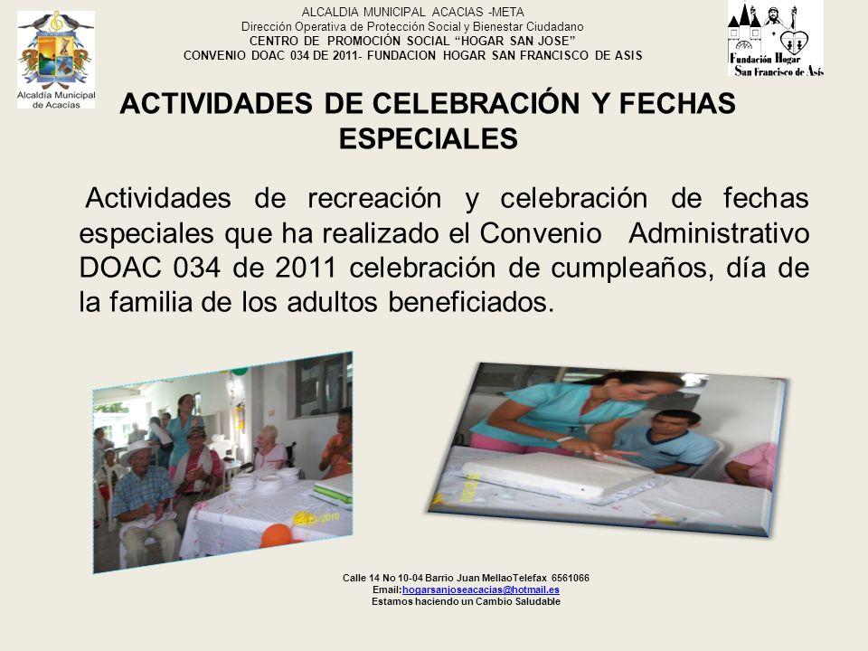 ACTIVIDADES DE CELEBRACIÓN Y FECHAS ESPECIALES