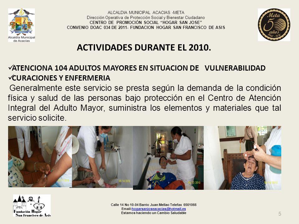 ACTIVIDADES DURANTE EL 2010.