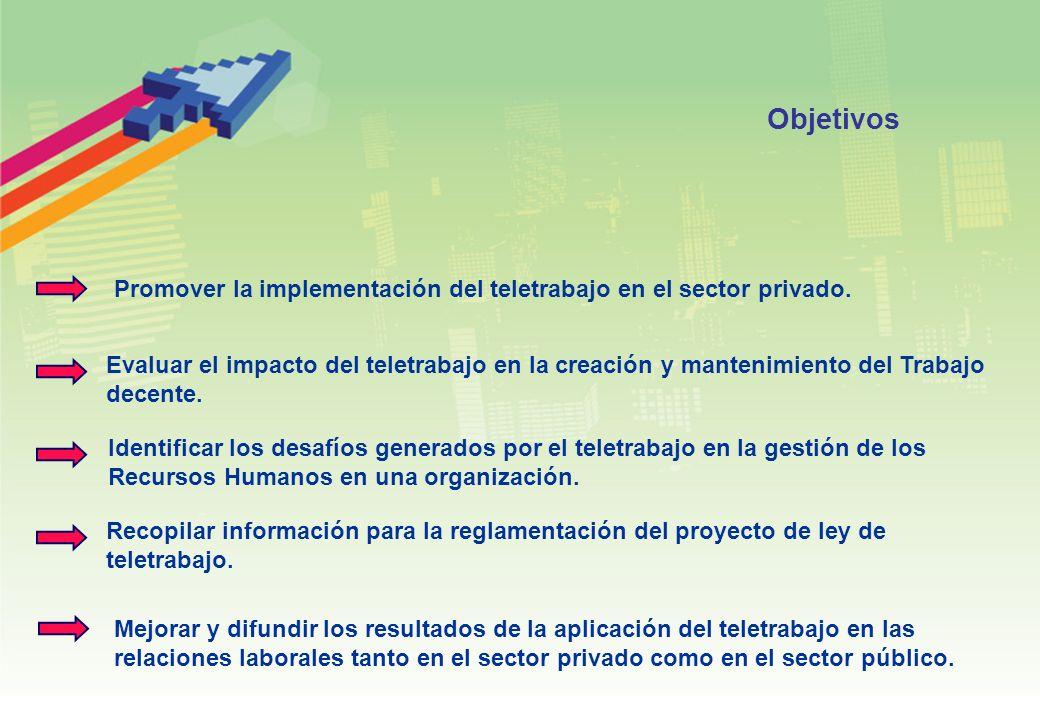 Objetivos Promover la implementación del teletrabajo en el sector privado.