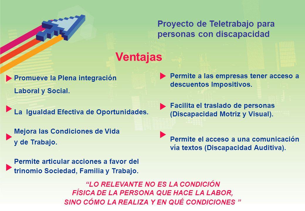 Ventajas Proyecto de Teletrabajo para personas con discapacidad