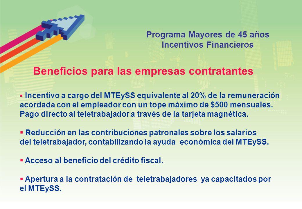 Programa Mayores de 45 años Incentivos Financieros