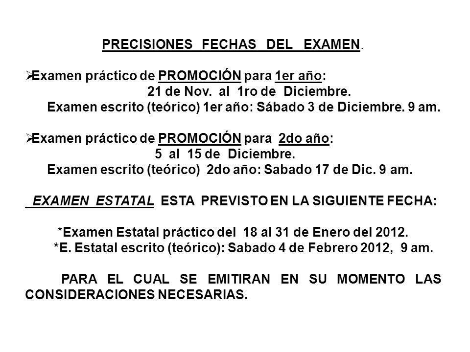 PRECISIONES FECHAS DEL EXAMEN.