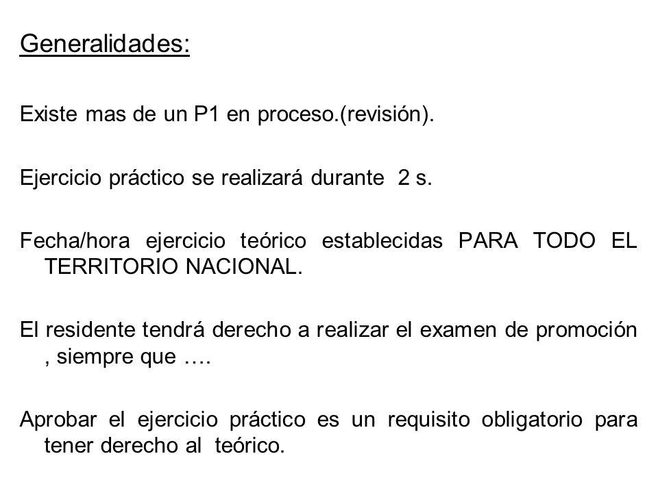 Generalidades: Existe mas de un P1 en proceso.(revisión).