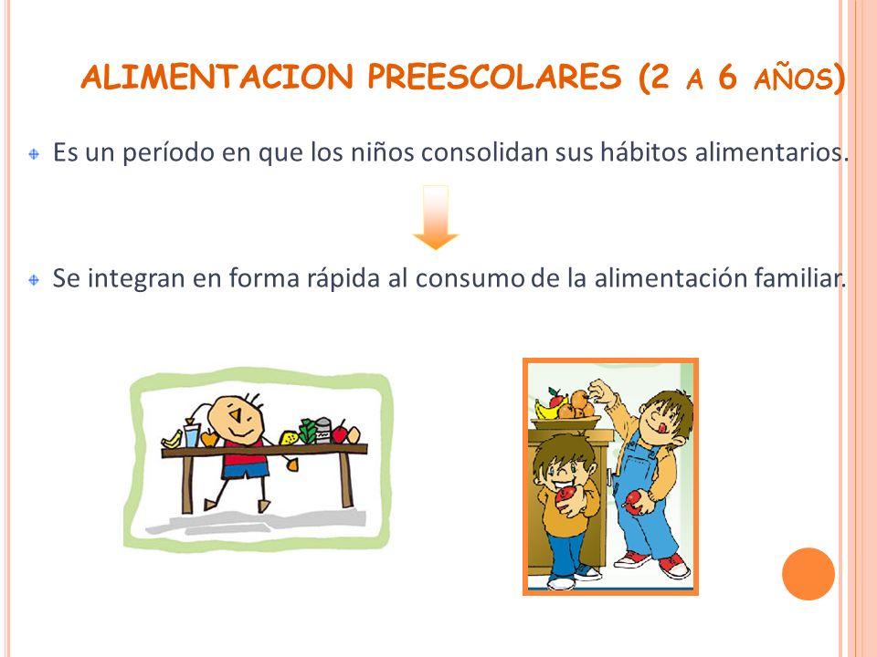 ALIMENTACION PREESCOLARES (2 a 6 años)