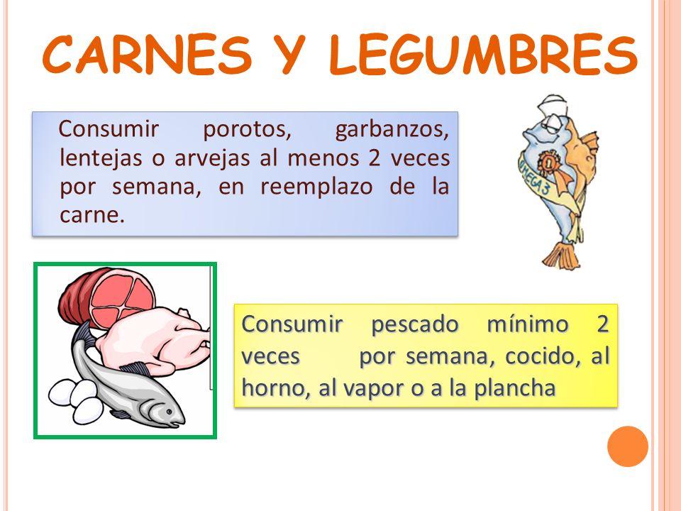CARNES Y LEGUMBRES Consumir porotos, garbanzos, lentejas o arvejas al menos 2 veces por semana, en reemplazo de la carne.