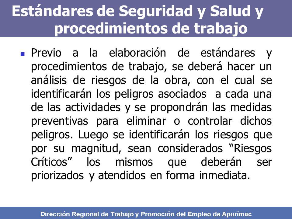Estándares de Seguridad y Salud y procedimientos de trabajo
