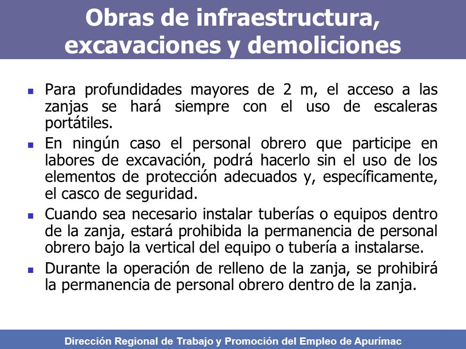 Obras de infraestructura, excavaciones y demoliciones