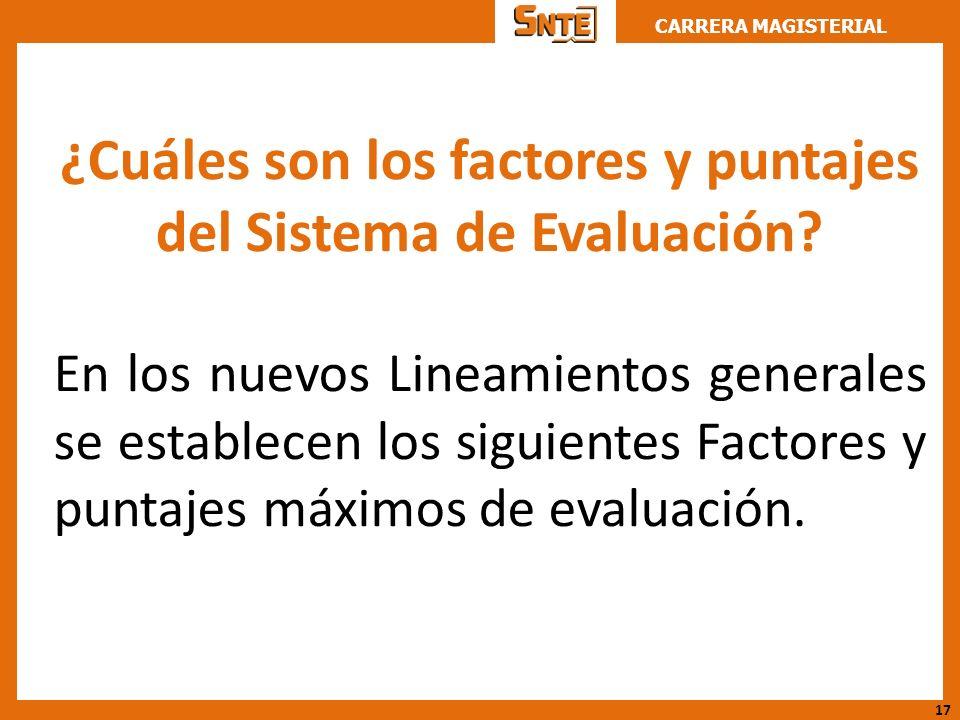 ¿Cuáles son los factores y puntajes del Sistema de Evaluación
