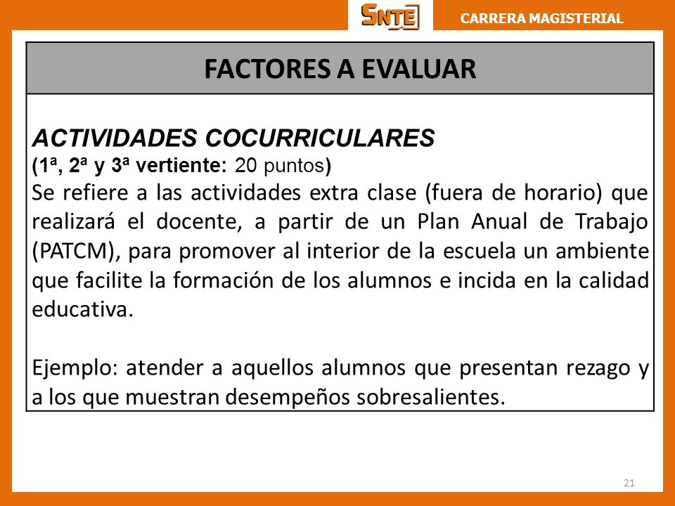 FACTORES A EVALUAR ACTIVIDADES COCURRICULARES