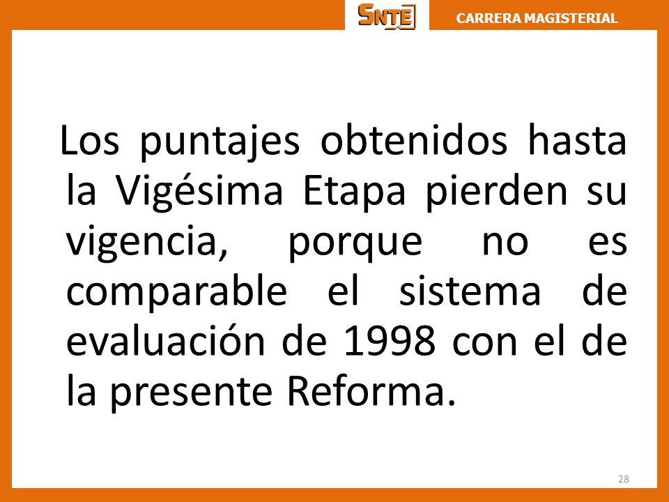 Los puntajes obtenidos hasta la Vigésima Etapa pierden su vigencia, porque no es comparable el sistema de evaluación de 1998 con el de la presente Reforma.